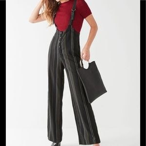 URBAN OUTFITTERS Black Stripe Suspender Overalls